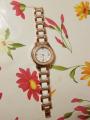 Женские часы с кристаллами на керамическом браслете