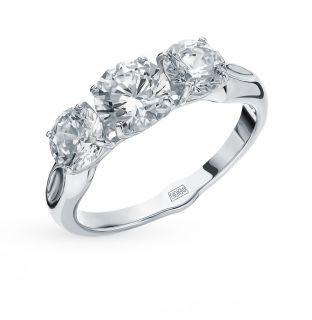 Серебряное кольцо с фианитами SOKOLOV 94012675: белое серебро 925 пробы, фианит — купить в интернет-магазине SUNLIGHT, фото, артикул 92807