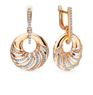 Серебряные серьги с фианитами AQUAMARINE 45628А.6: розовое серебро 925 пробы, фианит — купить в интернет-магазине SUNLIGHT, фото, артикул 87786