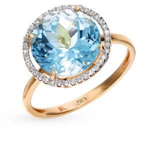 Золотое кольцо с топазами и бриллиантами SUNLIGHT: красное и розовое золото 585 пробы, топаз, бриллиант — купить в интернет-магазине Санлайт, фото, артикул 83727