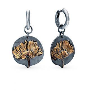 Серебряные серьги KU&KU СТ0048-7-6-4: чёрное серебро — купить в интернет-магазине SUNLIGHT, фото, артикул 102789