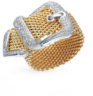 Серебряное кольцо с фианитами SUNLIGHT: белое и жёлтое серебро 925 пробы, фианит — купить в интернет-магазине Санлайт, фото, артикул 81104