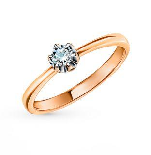 Золотое кольцо SUNLIGHT «Бриллианты Якутии»: красное и розовое золото 585 пробы, бриллиант — купить в интернет-магазине SUNLIGHT, фото, артикул 99435
