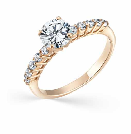 926bab910b41 Кольцо SOKOLOV, вставка  фианит  Розовое золото 585 пробы −52% SOKOLOV