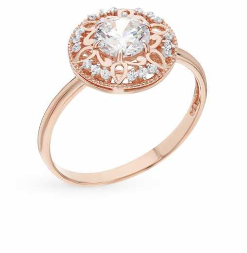 996e86e7bf64 Кольцо, вставка  фианит  Розовое золото 585 пробы. −70% Санкт-Петербургский  Ювелирный Завод