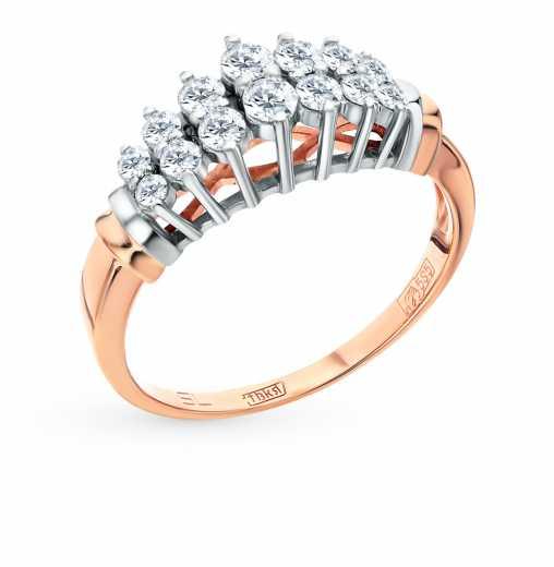 be8217c3b2e6 Кольцо «Бриллианты Якутии» с 14 бриллиантами, 0.51 карат  Розовое золото  585 пробы −52% SUNLIGHT