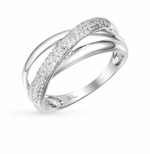 Кольцо с 73 бриллиантами, 0.19 карат  Белое золото 585 пробы. −52% SUNLIGHT 337489d0247