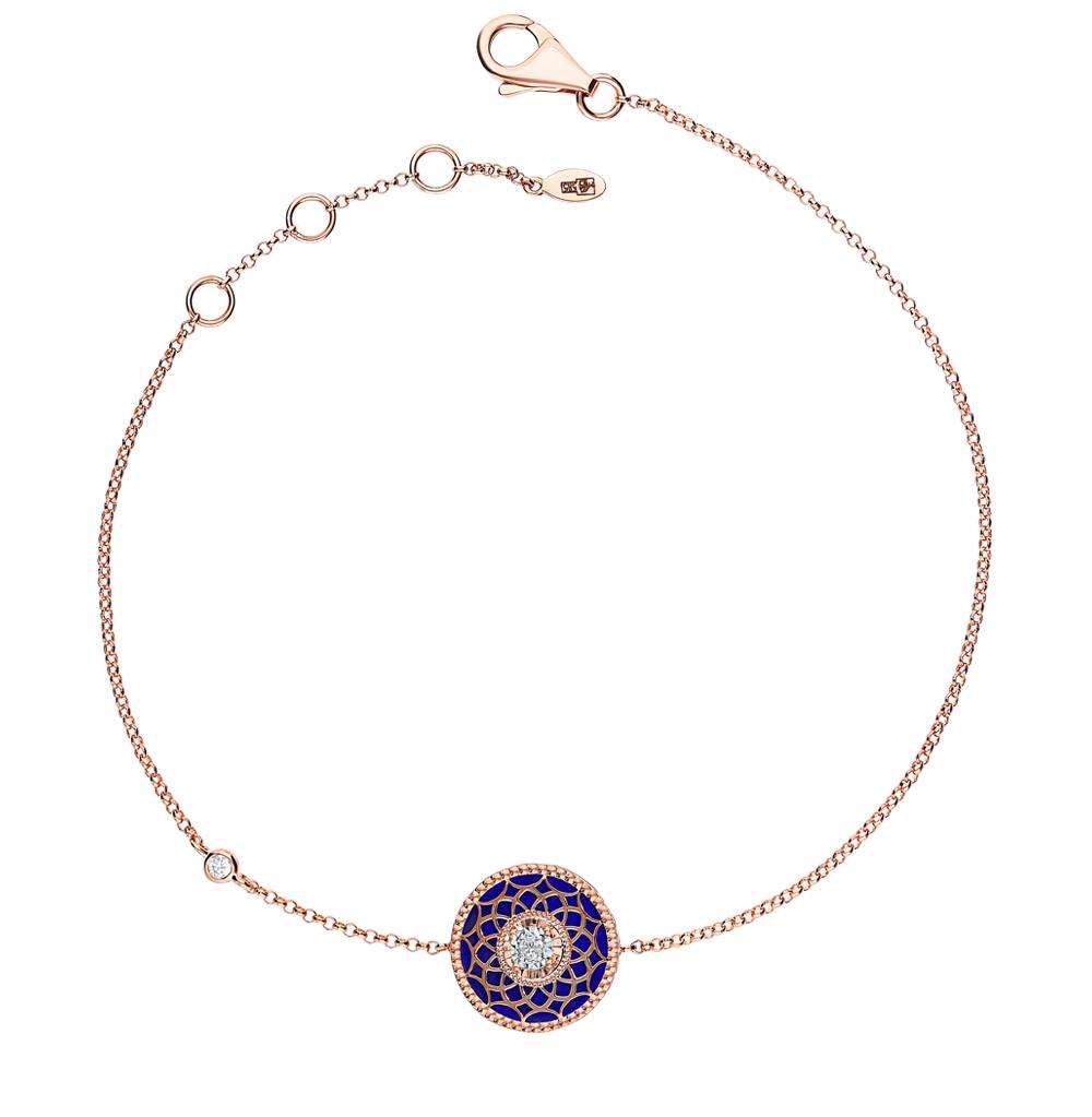 золотой браслет с лазуритом и бриллиантами