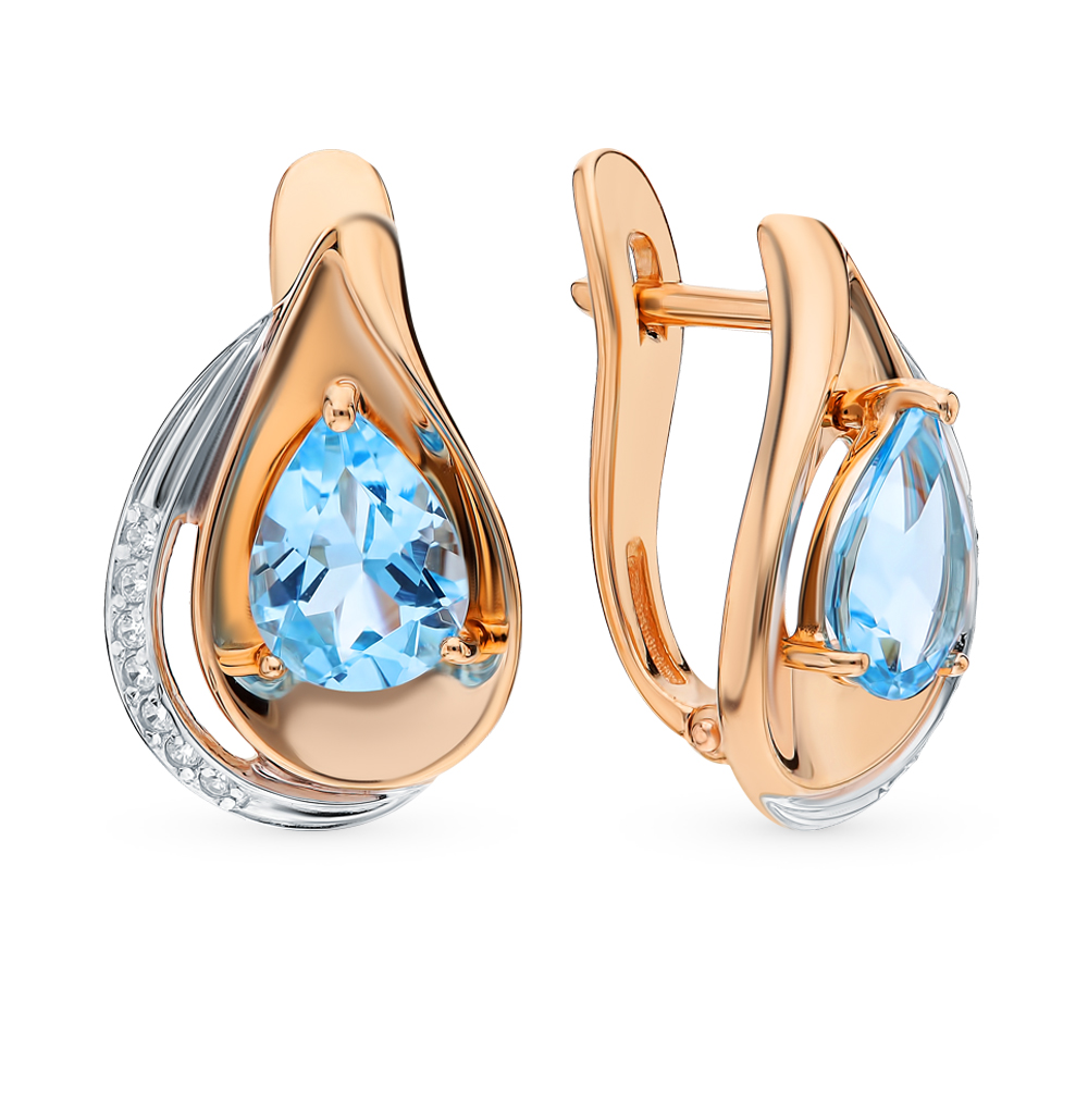 золотые серьги с топазами и фианитами SOKOLOV 725555*