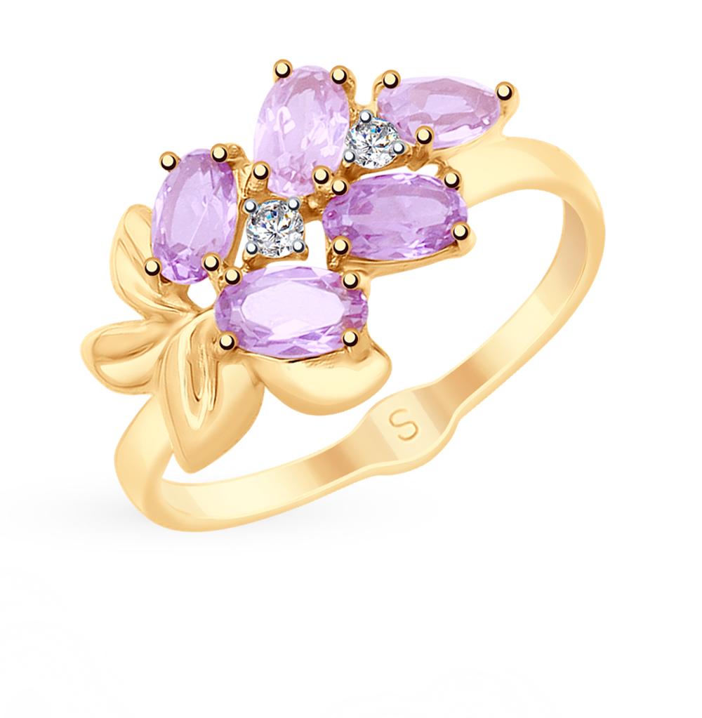 золотое кольцо с аметистом, фианитами и ситаллами SOKOLOV 715362*