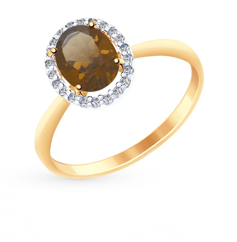 золотое кольцо с раухтопазами и фианитами SOKOLOV 714966*