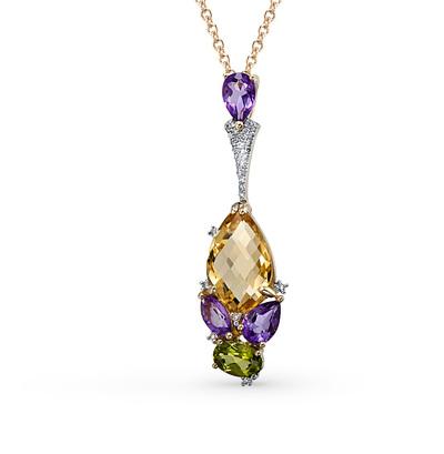 Фото «золотая подвеска с аметистом, цитринами, хризолитом и бриллиантами»