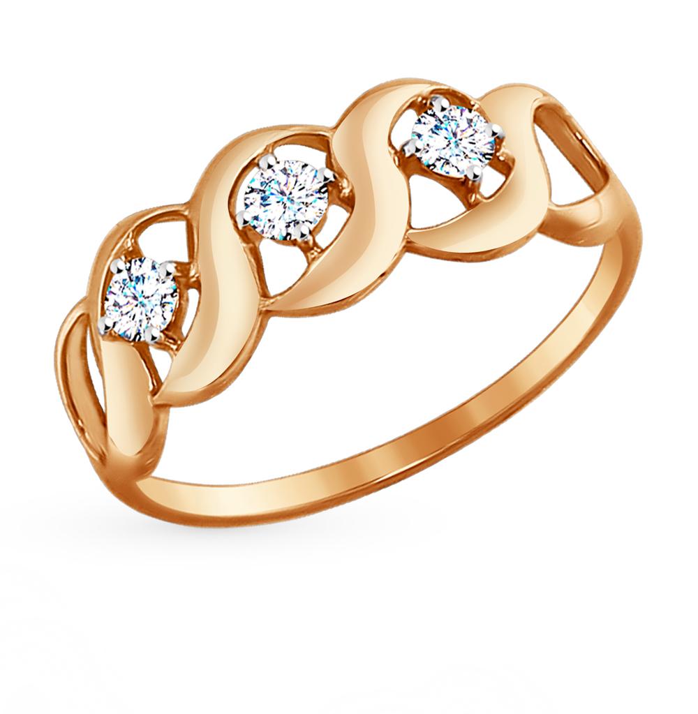 золотое кольцо с фианитами SOKOLOV 017308*
