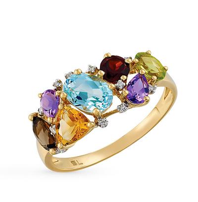 золотое кольцо с цитринами, топазами, гранатом, аметистом, хризолитом, раухтопазами и бриллиантами