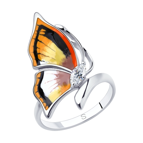Серебряное кольцо с фианитами и эмалью SOKOLOV 94013149 в Санкт-Петербурге