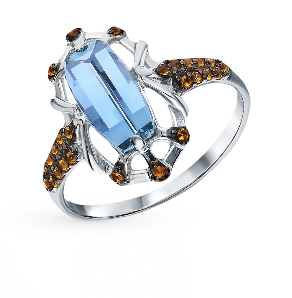 Фото «Серебряное кольцо с фианитами и параиба ситал»