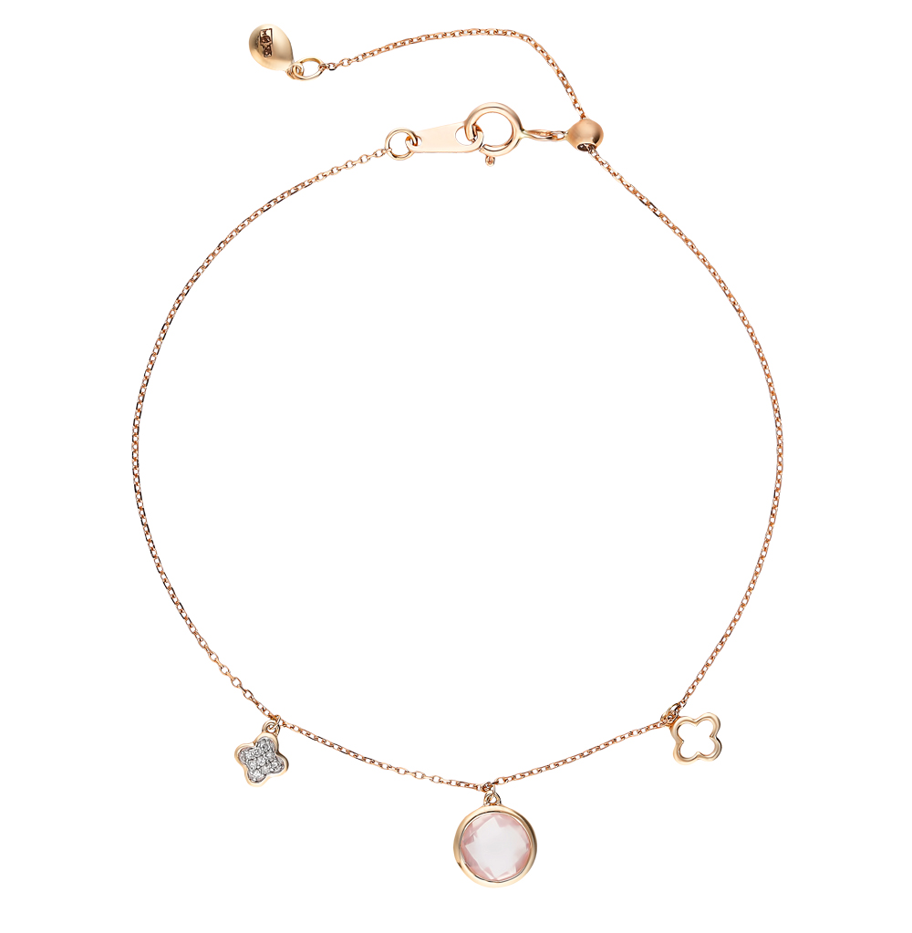 Фото «Золотой браслет с кварцем и бриллиантами»