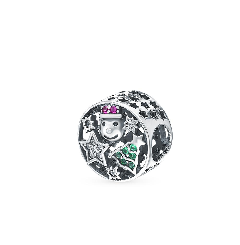 Фото «Серебряная подвеска с корундом, фианитами и эмалью»