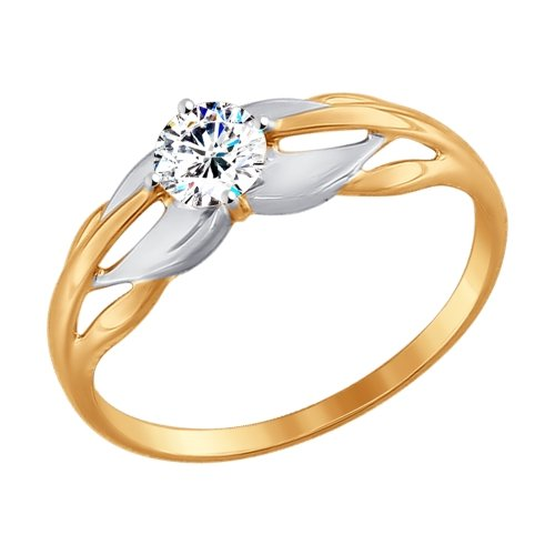 Фото «Золотое кольцо с фианитами SOKOLOV 017443*»