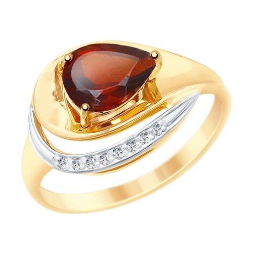Золотое кольцо с фианитами и гранатом SOKOLOV 715240* в Санкт-Петербурге