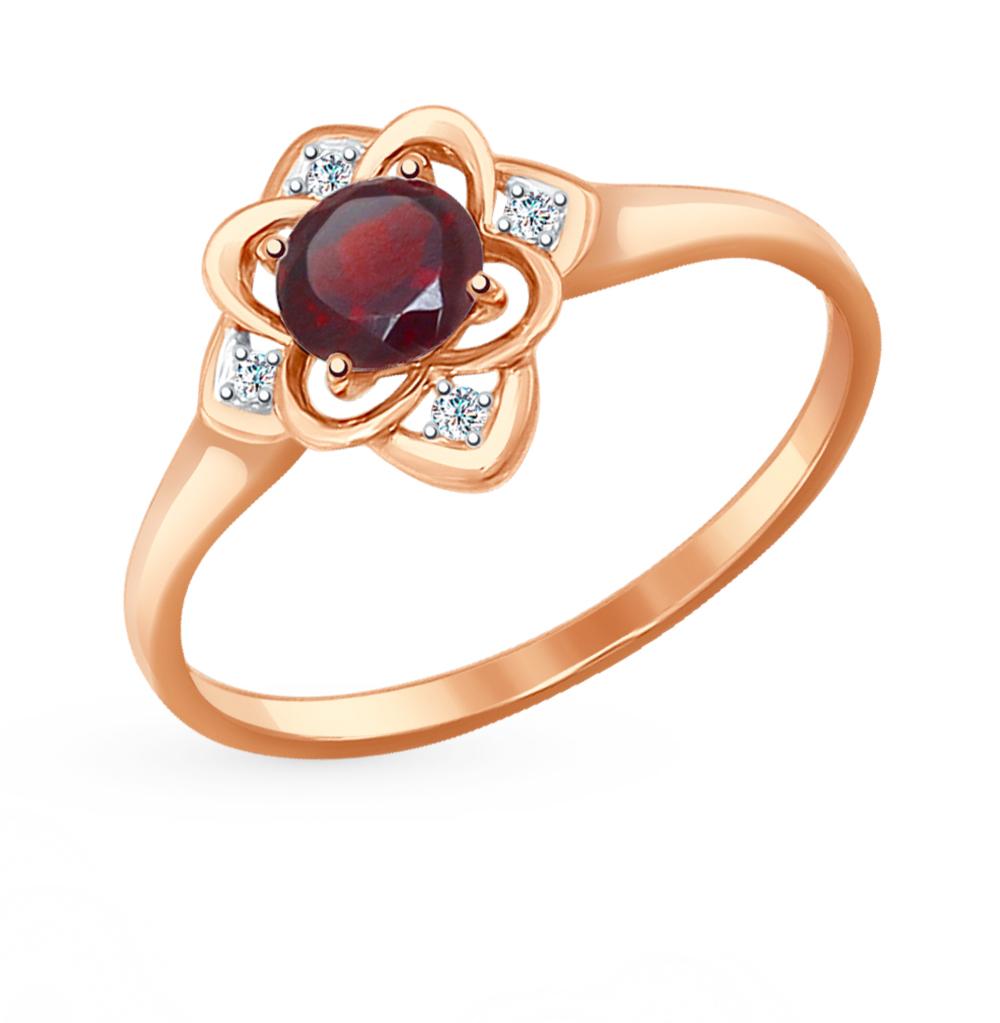 золотое кольцо с фианитами и гранатом SOKOLOV 714468*