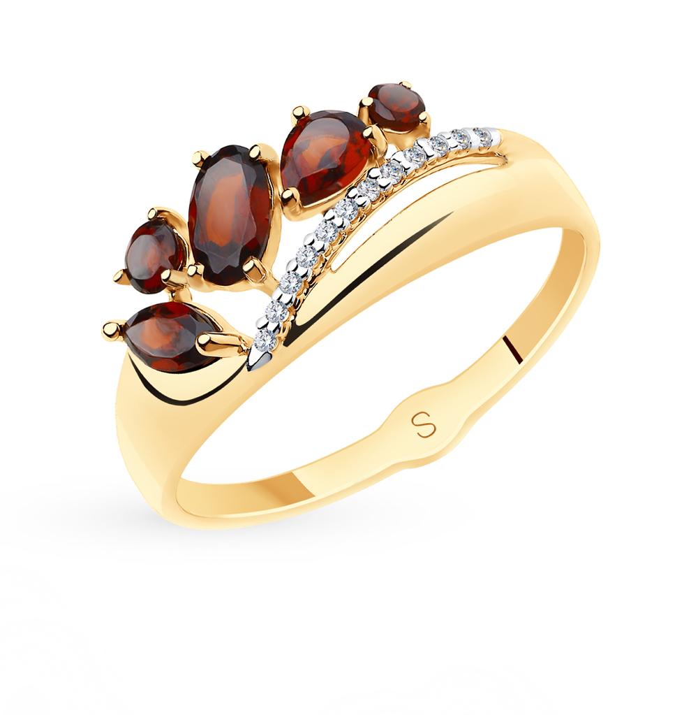 золотое кольцо с фианитами и гранатом SOKOLOV 715582*