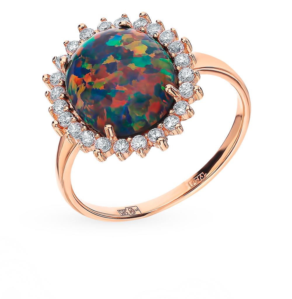 Фото «Золотое кольцо с фианитами и опалами»