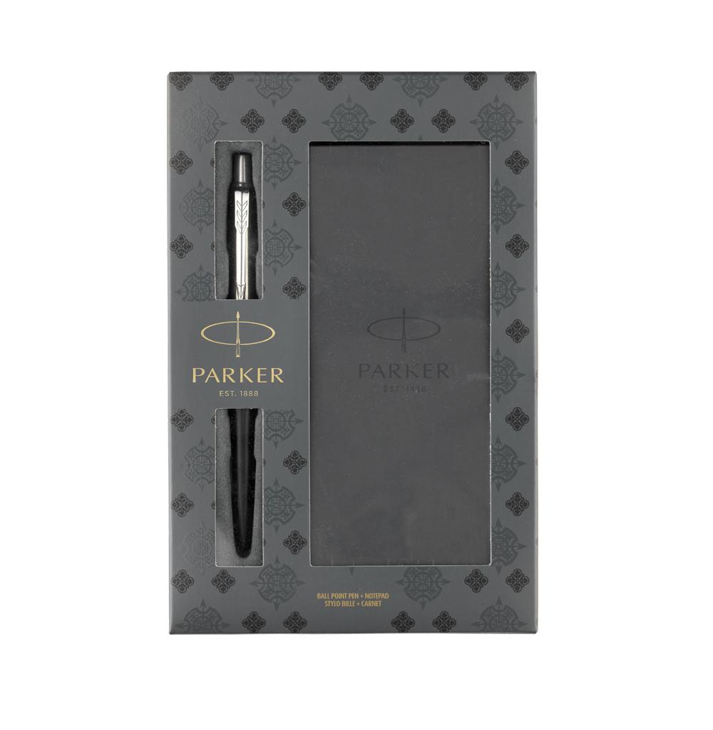 Подарочный набор с блокнотом и шариковой ручкой Parker Jotter Core K63, Satin Black CT