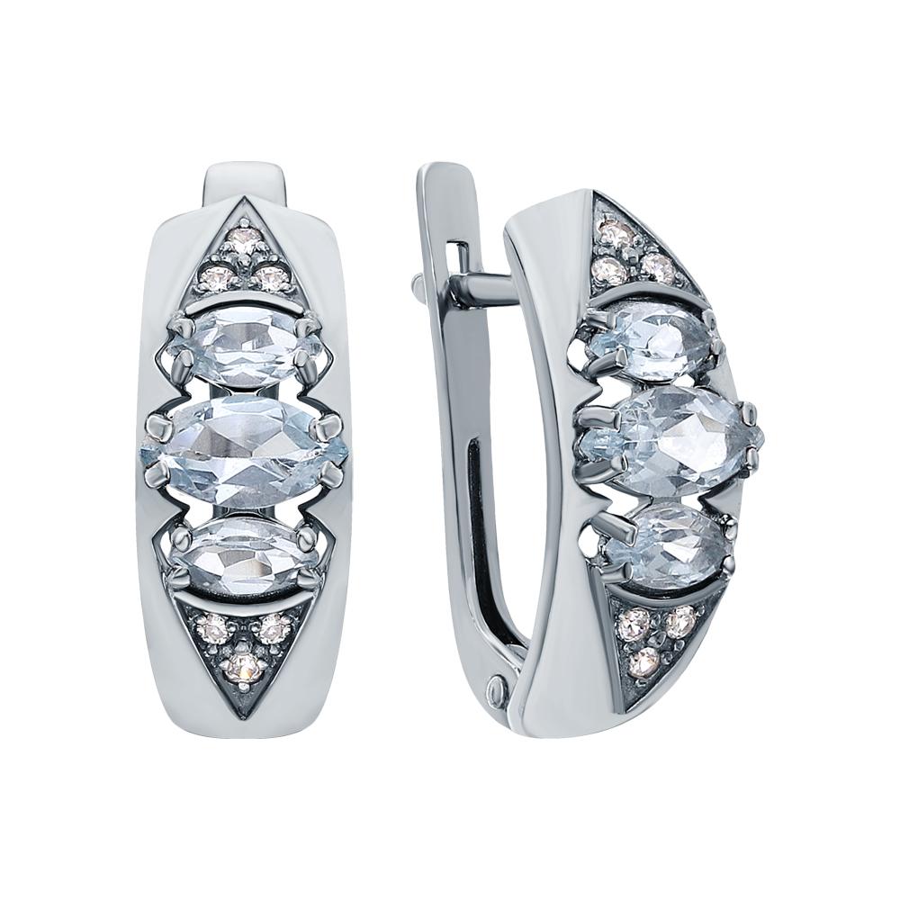 Серебряные серьги с топазами и фианитами в Екатеринбурге