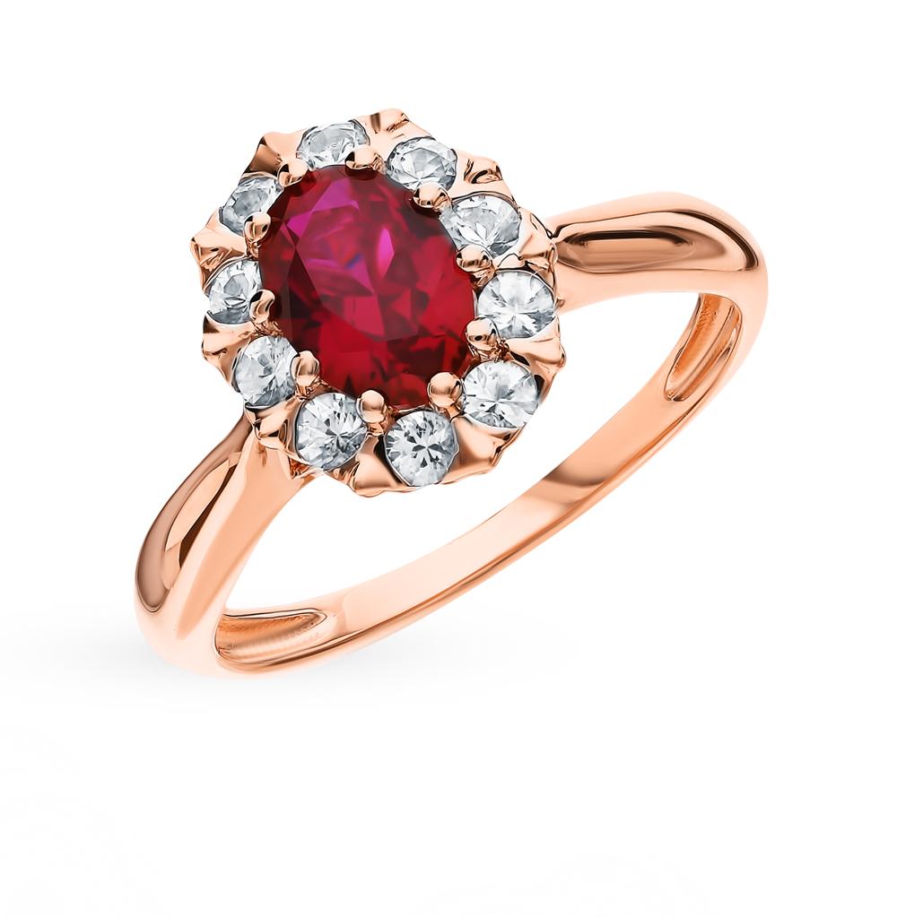 золотое кольцо с рубинами и сапфирами