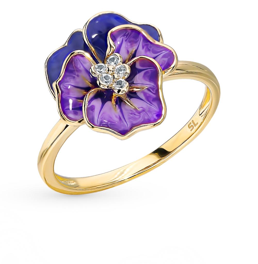 золотое кольцо с сапфирами и эмалью