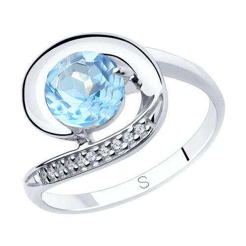 Фото «Серебряное кольцо с топазами и фианитами SOKOLOV 92011852»