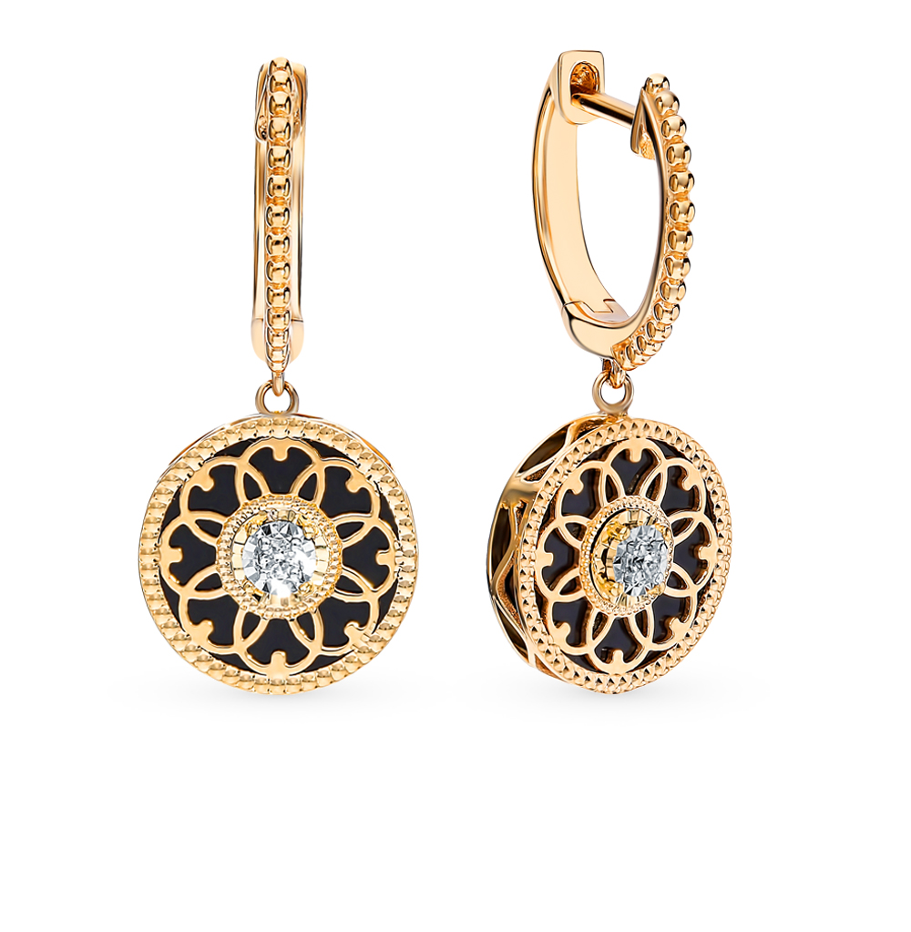 золотые серьги с агатом и бриллиантами