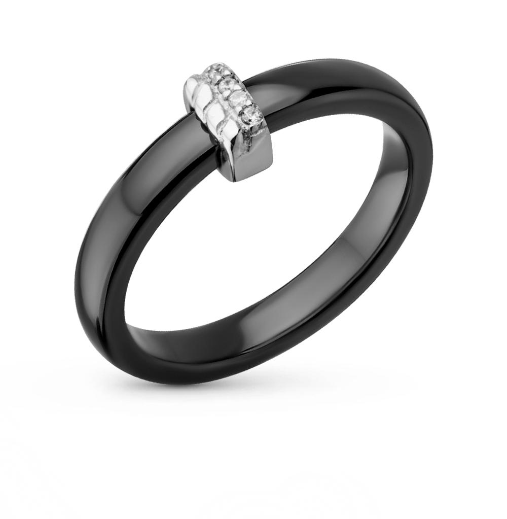 Фото «кольцо из керамики с серебром и фианитами»