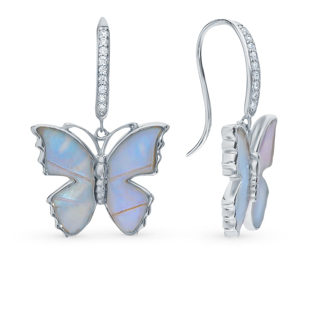 Серебряные серьги с фианитами, эмалью и  крыльями бабочки