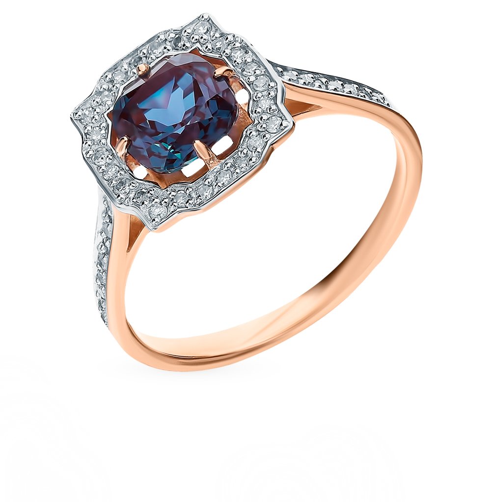 Золотое кольцо с александритом и бриллиантами в Екатеринбурге