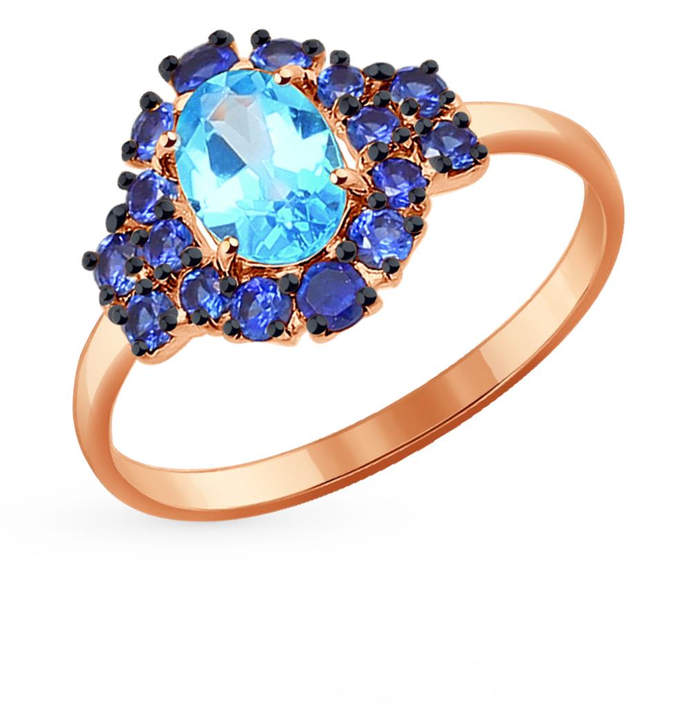 золотое кольцо с корундом и топазами SOKOLOV 714265*