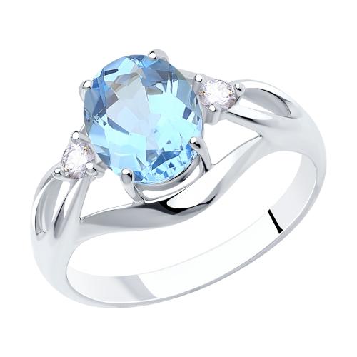 Фото «Серебряное кольцо с топазами и фианитами SOKOLOV 92011941»