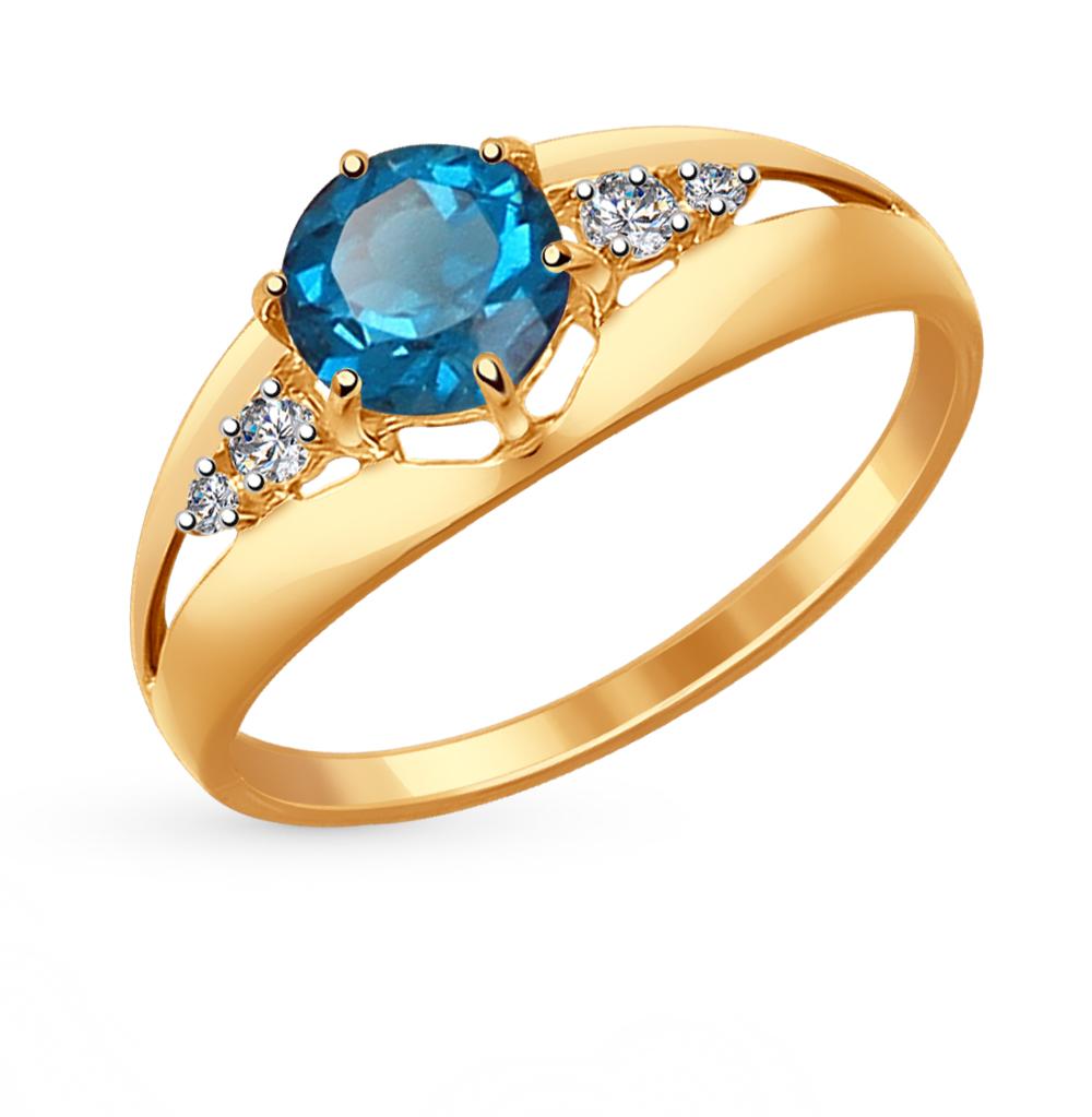 золотое кольцо с топазами и фианитами SOKOLOV 714439*