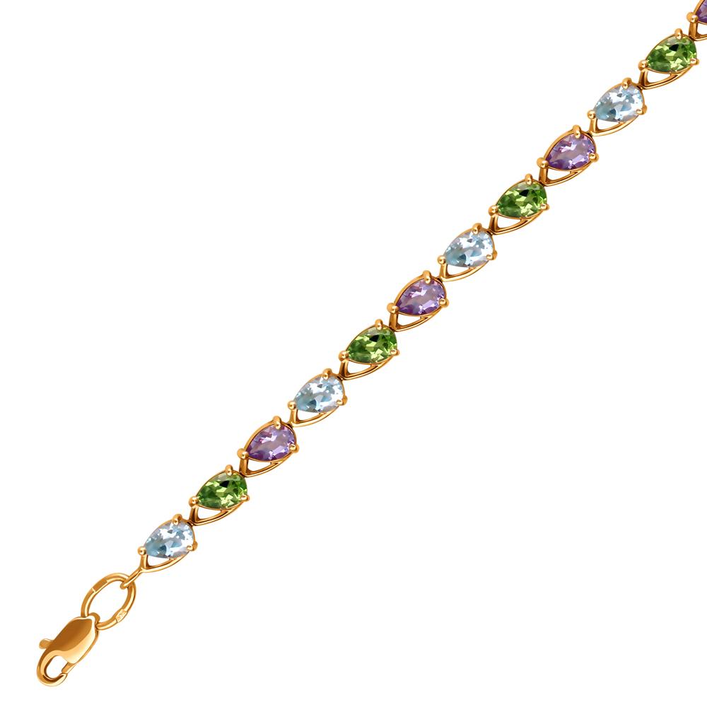 золотой браслет с хризолитом, аметистом и топазами