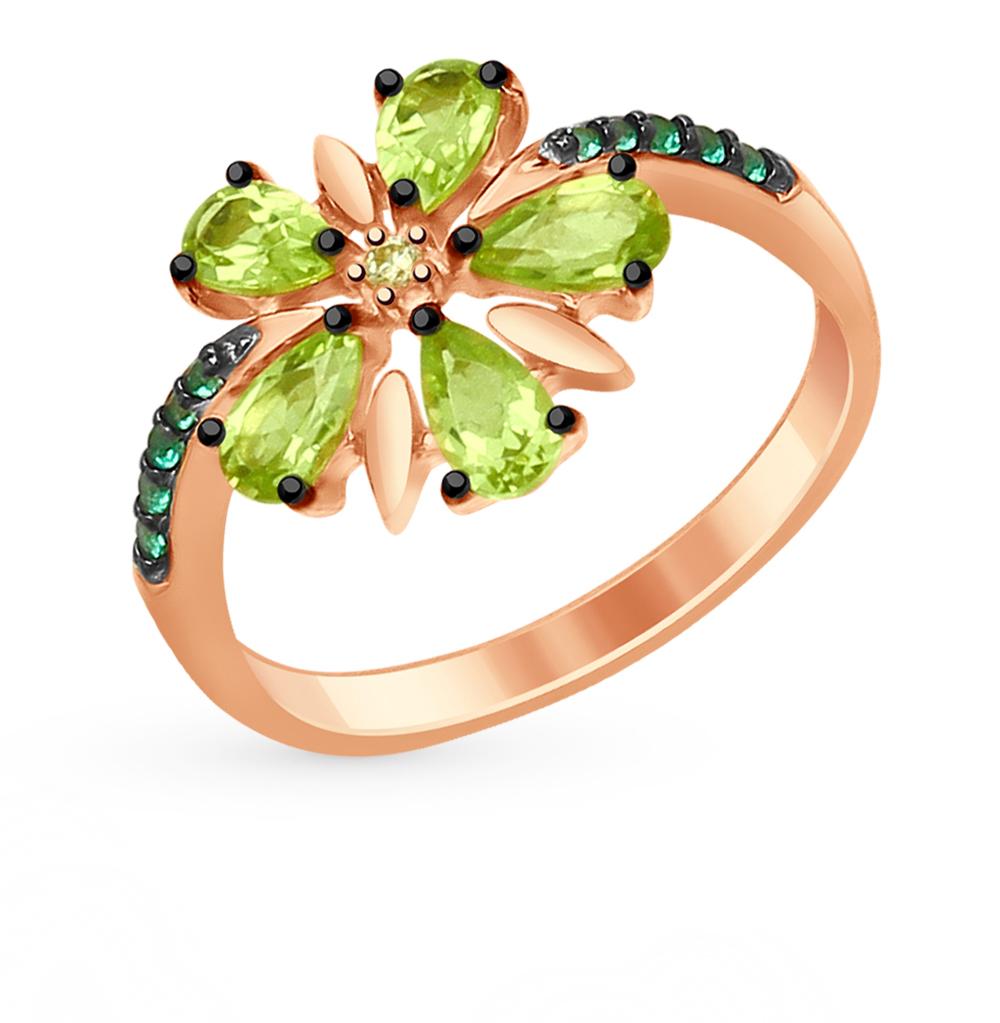 серебряное кольцо с хризолитом и фианитами SOKOLOV 92011415