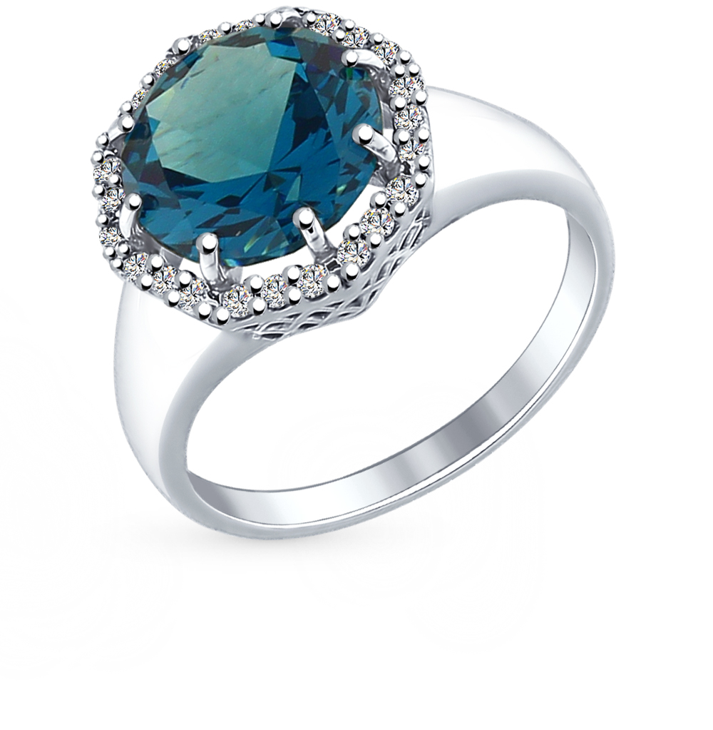 Фото «серебряное кольцо с ситаллами и фианитами»