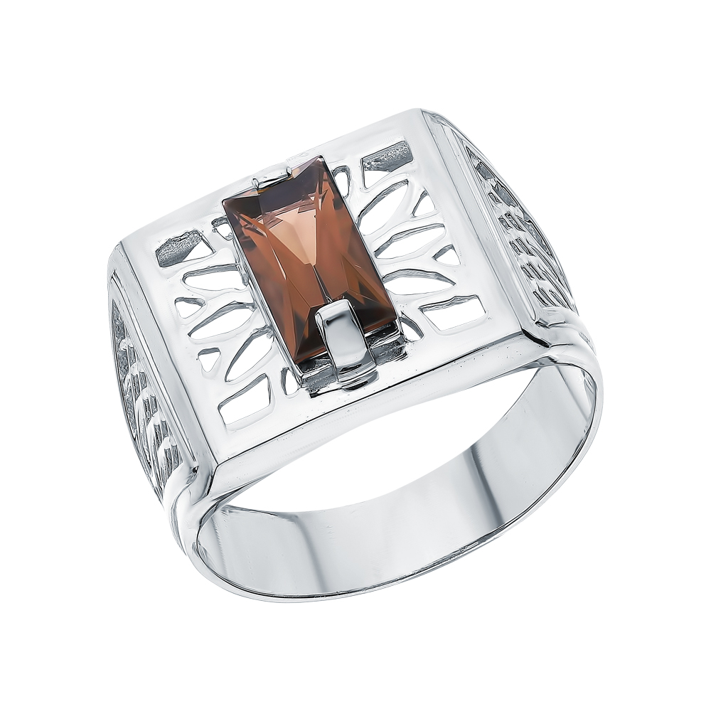 Серебряное кольцо с кварцами дымчатыми в Санкт-Петербурге