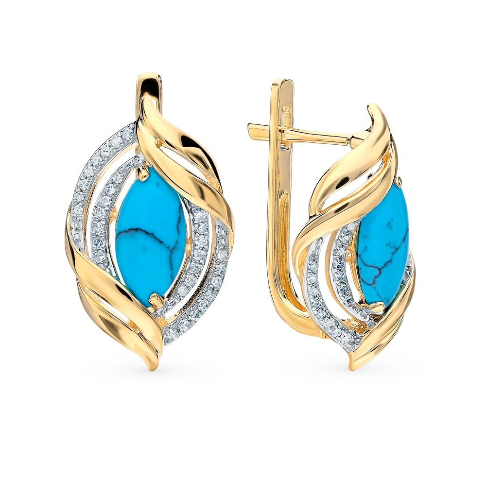 Золотые серьги с бирюзой и бриллиантами в Санкт-Петербурге