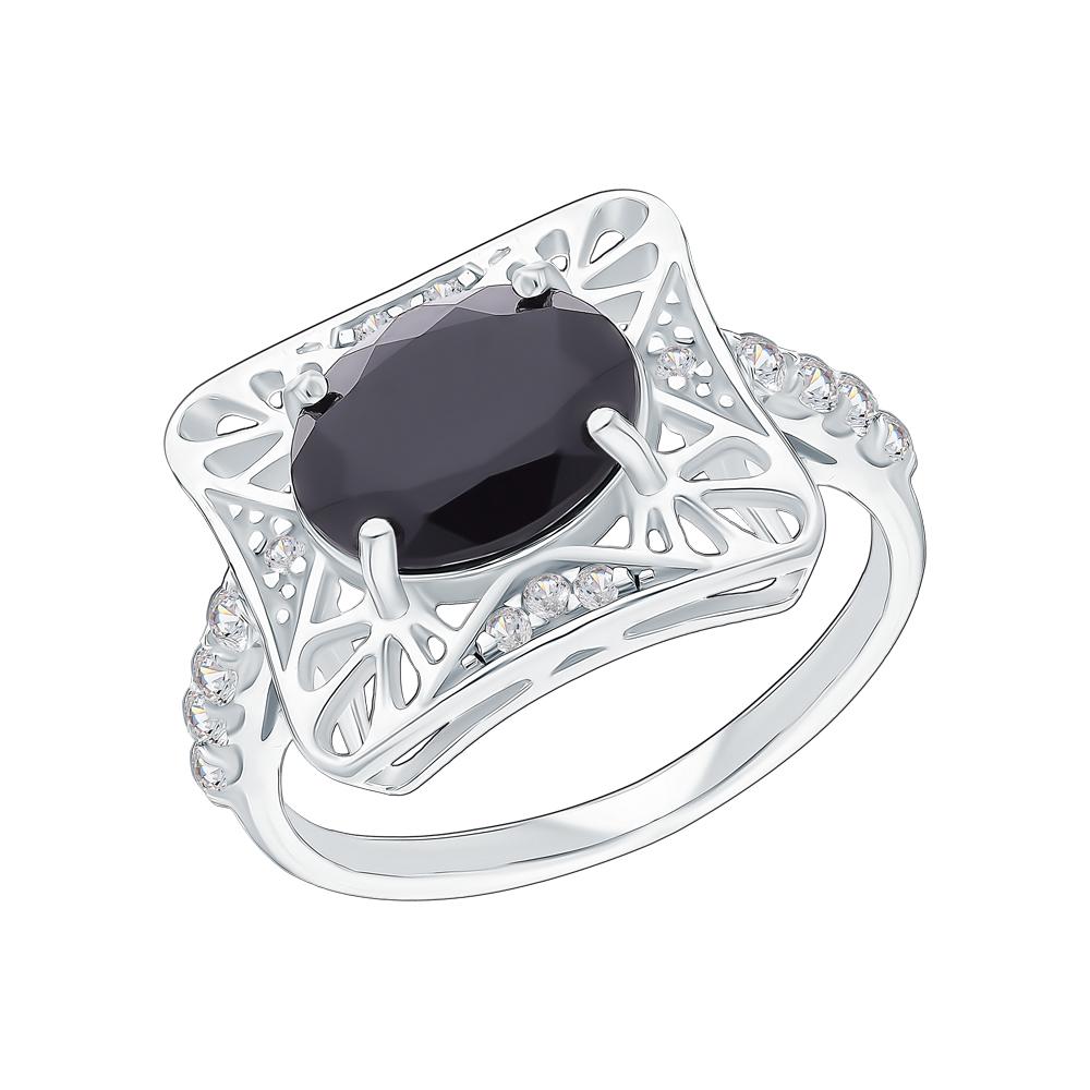 Серебряное кольцо с ониксом и фианитами в Екатеринбурге