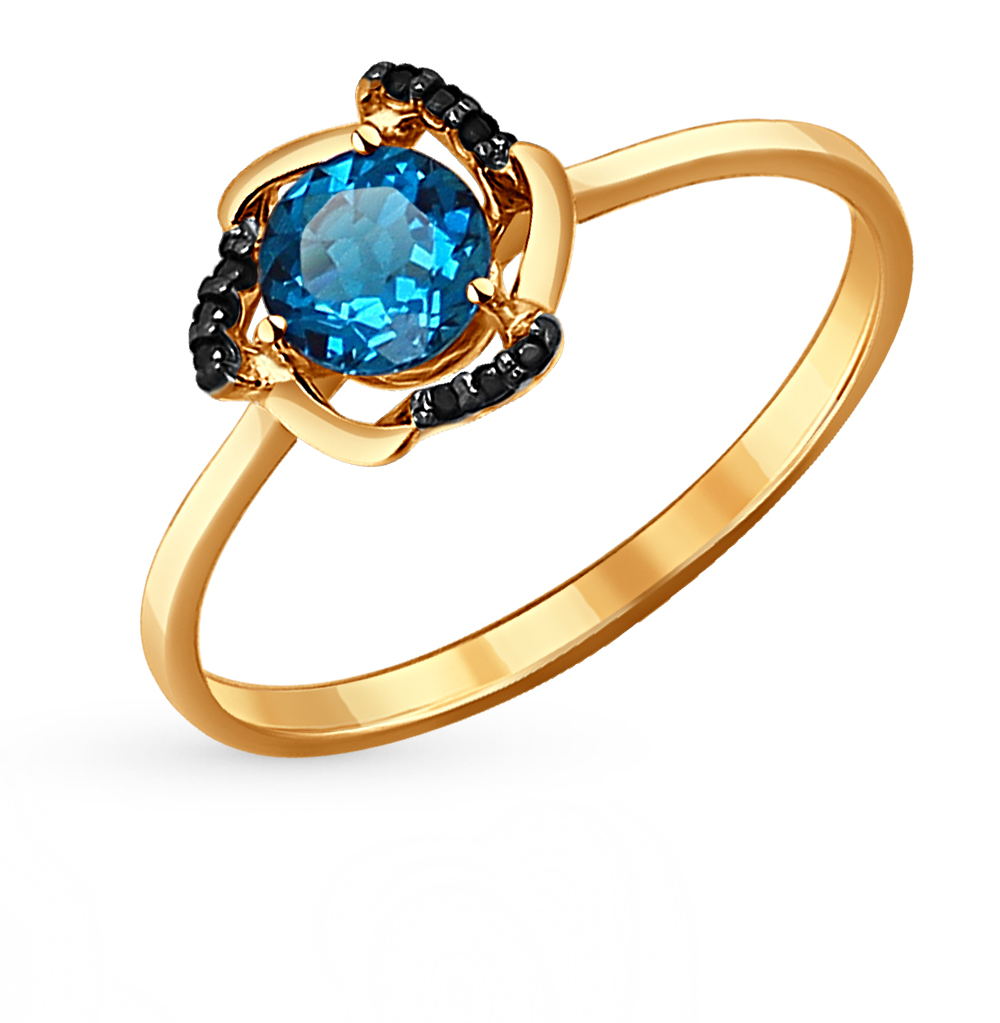 золотое кольцо с топазами и фианитами SOKOLOV 714080*