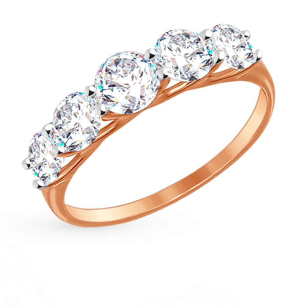 золотое кольцо с фианитами SOKOLOV 017145*