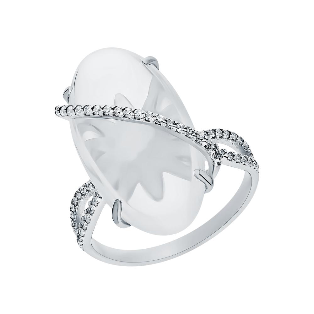 Фото «Серебряное кольцо с лунными камнями и кубическими циркониями»