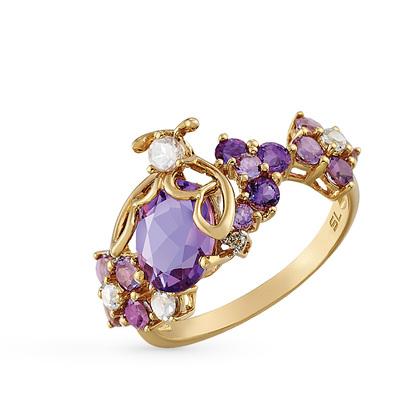 Фото «золотое кольцо с аметистом, кварцем, топазами и бриллиантами»