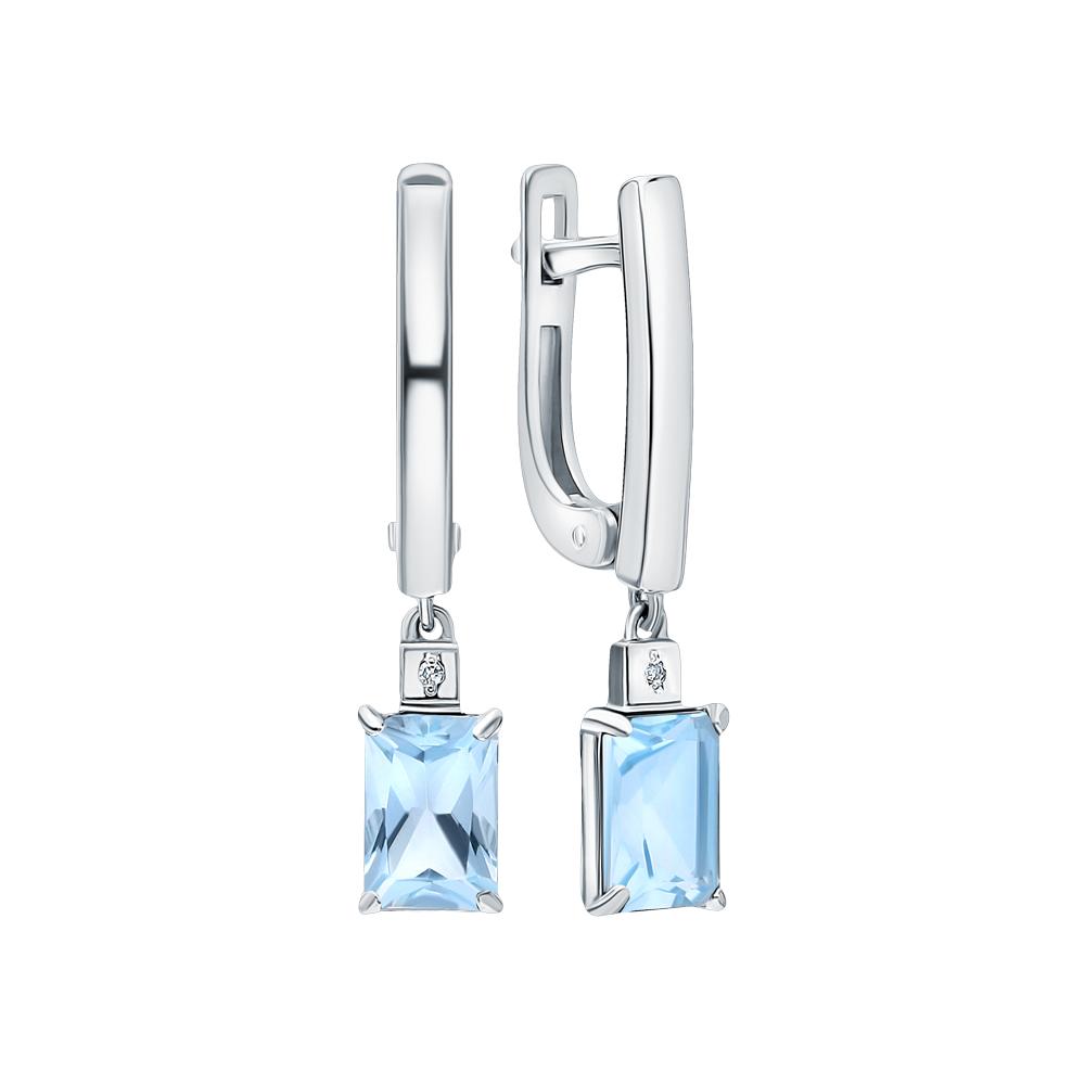 Серебряные серьги с топазами и бриллиантами в Екатеринбурге